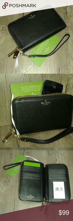 """Kate Spade ♠ tech-smart wristlet Wristlet is Kate Spade black tech-smart fits a phone up to 6.25."""" Double zipper With 8"""" strap that detaches. Holds ID in clear window slot and 10 other cards. In second zipper there is two sides with small zipper in middle. There are slip slots in each side. The inside is part leather and soft fabric and the outside is pebbled leather. Gold hardware and gold zipper. Comes with care card, NWT kate spade Bags Clutches & Wristlets"""