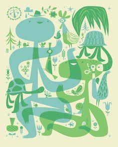 """Nature Walk 2009 - 12"""" x 9"""" - Letterpress Print"""