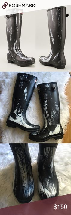 Hunter Black Wellington Paint Splatter Rain Boots Rare Black 'Wellington' paint splatter rain boots from Hunter  Brand new with our box  US size M5 F6  UK 4  EU 37  No longer available Hunter Boots Shoes Winter & Rain Boots