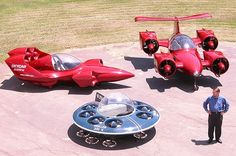 Skycar M-400 by Moller International: flying car prototype VTOL type (Vertical Take-Off & Landing (VTOL). 8 Rotary engines of Wankel type on Ethanol; 4 ducted-fan nacelles. 11.8 L / 100 km (20 mpg US). ground speed 50 km/h (30 mph) / cruise 440 km/h (275 mph) / max speed 600 km/h (375 mph) / fly range 200 km (750 mi) / altitude 11 km (36000') / 1090 kg (2400 lbs); M400 seats 4, M600 sests 6; M100. 1. prototype will launch?