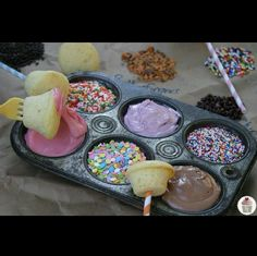 This is a really cute idea for birthdays or parties. Your own little cupcake station