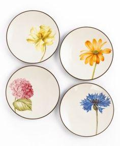 Noritake Dinnerware, Set of 4 Colorwave Chocolate Floral Appetizer Plates - Serveware - Dining & Entertaining - Macy's Bridal and Wedding Registry Painted Plates, Ceramic Plates, Ceramic Pottery, Decorative Plates, Small Plates, Hand Painted Ceramics, Ceramic Painting, Ceramic Art, Blue Dinnerware