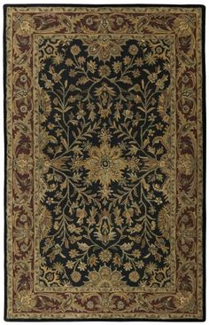 Hand-tufted Regal Wool Rug (5' x 8'), Black, Size 5' x 8' (Cotton, Floral)