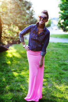 Spring it On: denim jacket, pink maxi skirt