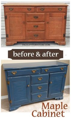 Maple cabinet in Denim Blue with Black Glaze ~ Before & After. Find more painted, glazed & distressed inspiration on our Pinterest boards, or on the Facelift Furniture DIY blog.