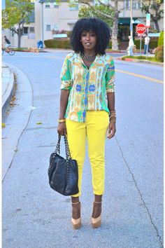 "StylePantry ""Spring colors""  Chartreuse Scarf Print Zara Shirt + Yellow Zara Pants"