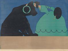 "Thomas Theodor Heine  Leipzig 1867 – 1948 Stockholm  ""Die Muse der Malerei küßt den Berliner Bären"". 1901 Colour lithograph on paper. 69,1 × 91,2 cm (27 ¼ × 35 ⅞ in.) Signed. Raff 62. Early print before text added. Poster for the Berliner Secession, 1901. Berlin, Bruno und Paul Cassirer."
