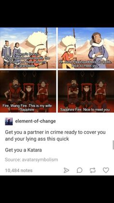 "This. There aren't a lot of pro-Katara posts cuz she's viewed as the ""mom"" of the group, but she's awesome <3"