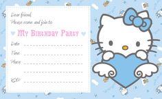 Free Download Cute Printables Template: Birthday... Hello Kitty. http://freeprintabletemplate.blogspot.com