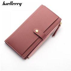 40d256840 Largo sólido de lujo marca mujeres carteras moda cerrojo Cartera de cuero  monedero femenino embrague monedero