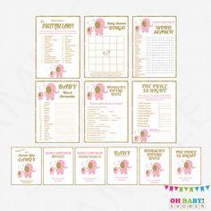 Pink Gold Baby Shower Games Bundle games pack by OhBabyShower