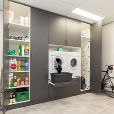 Buanderies More and more customers discover our custom solution for your washing machine space The L Modern Laundry Rooms, Laundry Room Layouts, Laundry Room Remodel, Utility Room Storage, Laundry Room Organization, Interior Design Living Room, Living Room Designs, Laundry Room Inspiration, Laundry Room Design