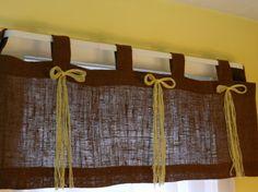 Burlap tab valance in brown. Burlap Window Treatments, Burlap Curtains, Cafe Style, Kitchen Design, Windows, Valances, Teaching Ideas, Handmade Gifts, Interior