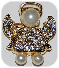 Angel Pin - Pearls and Stones