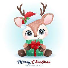 Christmas Card Template, Christmas Labels, Christmas Deer, Christmas Clipart, Christmas Animals, Christmas Greetings, Christmas Crafts, Watercolor Christmas Tree, Christmas Drawing