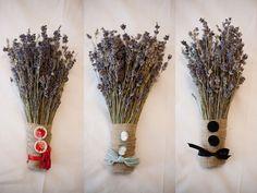 lavender bouquets w/ vintage buttons + ribbon + burlap