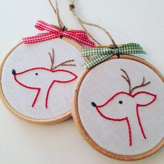 reindeer ornament . christmas . hand embroidered . by Embroiderwee
