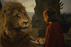 Aslan and Lucy at the Stone Table