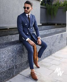 Blue with tan accents.