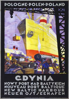 Vintage Gdynia Baltic Port Poland Polish Classic Travel Poster