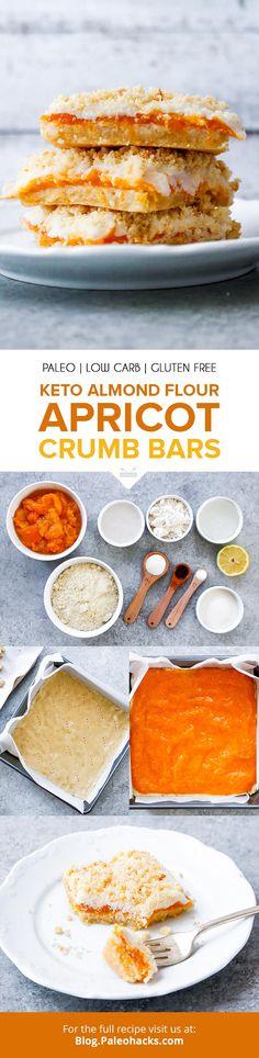 Visit For Recipes Keto Almond Flour Apricot Crumb Bars Dessert Sans Gluten, Paleo Dessert, Gluten Free Desserts, Dessert Bars, Dessert Recipes, Bar Recipes, Keto Desserts, Paleo Keto Recipes, Paleo Treats