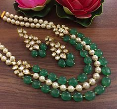 Excited to share this item from my #etsy shop: VeroniQ Trends-New Designer Kundan,Polki,Pearl,Emerald Necklace-D104-Bridal,Wedding,Rajasthan,Party,Statement Necklace #green #jewelry #brass #yes #unisexadults #geometric #gold #necklace #no
