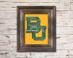 Baylor University Bears Word Art Typography // Dorm, home, or office! #SicEm