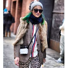 Preetma in mixed patterns  #nyfw #streetstyle