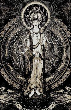 Bodhisattva of Compassion / Avalokitesvara / Kwan Yin / Quan Yin Amaterasu, Tibetan Art, Photo D Art, Buddha Art, Taoism, Mystique, Guanyin, Gods And Goddesses, Religious Art