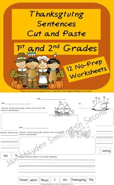This is a set of twelve worksheets.  Students cut the words and then paste the words in the box to form a complete sentence.  Then, students write the sentence on the lines provided.  There is also a small picture to color.  These worksheets are all in black and white to save you colored ink. This can be used as a whole group lesson, or can be placed in a literacy center.