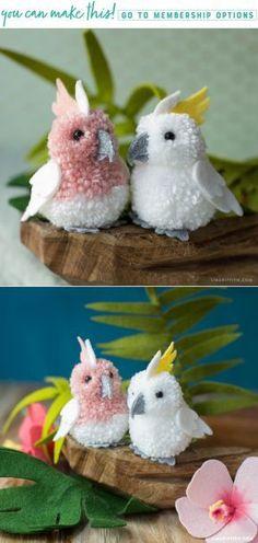 Craft These Really Cute Pom-Pom & Felt Cockatoos! - Jennifer Sasse - Craft These Really Cute Pom-Pom & Felt Cockatoos! Easy Diy Crafts, Cute Crafts, Craft Stick Crafts, Crafts For Kids, Craft Ideas, Preschool Crafts, Diy Ideas, Pom Pom Crafts, Yarn Crafts