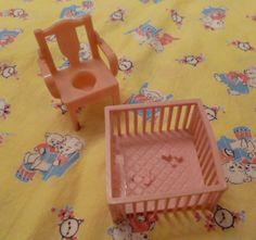 Dollhouse furniture1960s vintage hard plastic PINK nursery childs bedroom 60s toy.
