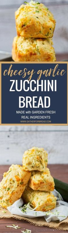 Cheesy Garlic Zucchini Bread - Delicious homemade fresh zucchini bread with cheddar cheese and garlic. Easy tasty recipe is the perfect summer appetizer or side to every meal.