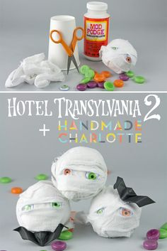 You only need a few simple materials to create these cute mummy party favors! | by @followcharlotte for Hotel Transylvania 2 | #HotelT2 in theaters Sept 25