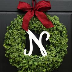 Artificial Christmas Boxwood Wreath with Monogram Initial