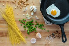 Recipe: Cappellini with fried egg, peas, and pinoli (Ingalls Photo) breakfast