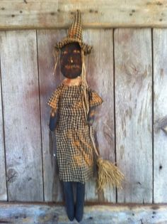 Primitive Black Folk ARt Fall Halloween Wicked ol Witch doll with her broom #NaivePrimitive