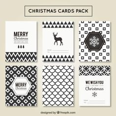Christmas cards geometric pack Free Vector