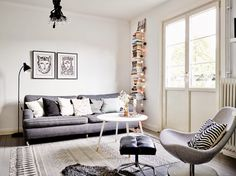 A grey and white Swedish home via My Scandinavian Home.