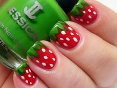 Watermelon Nail Art cute nails red green nail pretty pretty nails nail art watermelon nail ideas nail designs look like strawberries 2 me Cute Nail Art, Nail Art Diy, Easy Nail Art, Diy Nails, Strawberry Nail Art, Watermelon Nail Art, Strawberry Summer, Summer Fruit, Simple Nail Art Designs