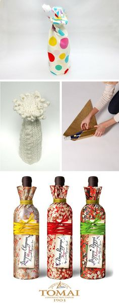 Gift wrapping bottle ideas