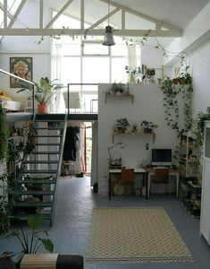 36 Fantastic Art Studio Apartment Design Ideas is part of Living Room Inspiration Plants - It has always been the practice that artists should have their own art studios, and most artists think that it […] Studio Apartment Design, Studio Spaces, Loft Spaces, Studio Apartments, White Studio Apartment, Warehouse Apartment, Art Studio Design, Tiny Apartments, Studio Interior