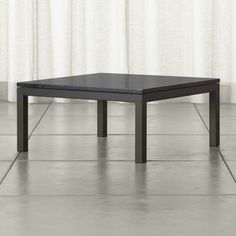 Shop Parsons Black Marble Top/ Dark Steel Base 36x36 Square Coffee Table.   More than meets the eye, the Crate and Barrel Parsons coffee table is constructed of hot-rolled steel with handcrafted details.