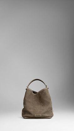 Small Suede Nubuck Leather Hobo Bag   Burberry
