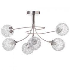 Allium Semi Flush Ceiling Light - 6 Light - Satin Nickel