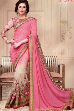 Pink Georgette + Net Wedding Saree With Blouse