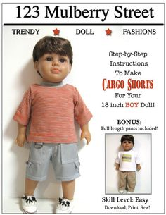 Pixie Faire 123 Mulberry St Boy Doll Cargo Shorts Doll Clothes Pattern for 18 inch American Girl Dolls - PDF American Boy Doll, American Doll Clothes, Doll Shoe Patterns, Clothing Patterns, Sewing Patterns, Fashion Patterns, Dress Patterns, Pixie, 18 Inch Boy Doll