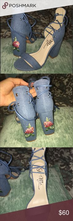 Denim lace up flower embroidered chunk heel NEVER WORN! Bought the wrong size so these pretty things never even hit the ground yet :) Shoes Heels