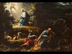 The Agony in the Garden by Guiseppe Cesari ~ Jesus & consoling angel at Gethsemane ~ sleeping apostles Scriptural Rosary, Jesus And Mary Pictures, Bible Pictures, Rosary Mysteries, Agony In The Garden, Jesus Christ Painting, Jesus Christus, Life Of Christ, Biblical Art