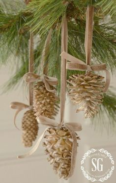 Christmas decorations ... lovely homemade decorations from bleached pine cones